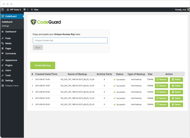 Activate CodeGuard WordPress Plugin