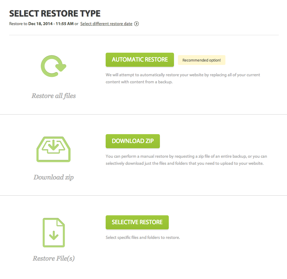 This screenshot from the user dashbaord shows the different restore options that are available to you upon initiating a restore. You can either perform an automatic one-click restore, a manual zip restore, or restore individual files by name.